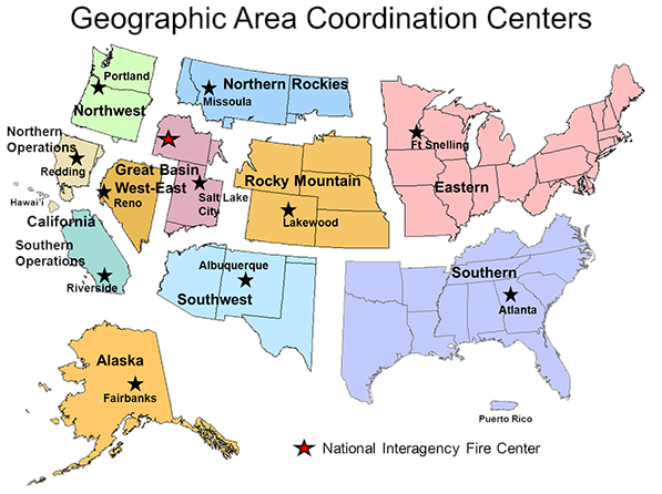 Geographic Area Coordination Centers Map of the Unites States of America